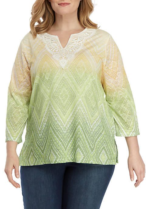 Alfred Dunner Plus Size Endless Weekend Ombre Diamond