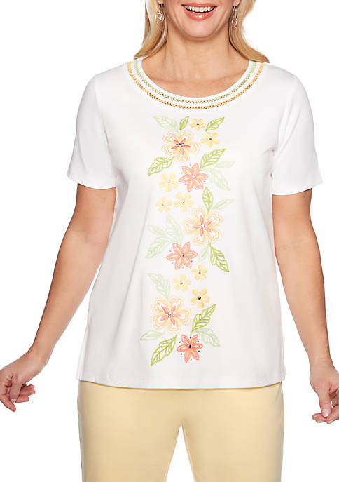 Alfred Dunner Petite Endless Weekend Embroidered Flower Knit