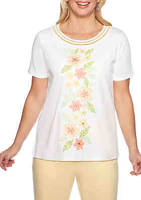 9d667a050f Alfred Dunner Petite Endless Weekend Embroidered Flower Knit Top ...