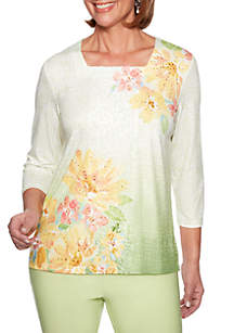 Alfred Dunner Petite Endless Weekend Watercolor Floral Blouse