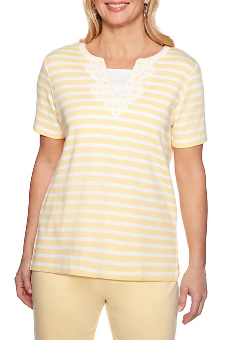 Alfred Dunner Petite Endless Weekend Stripe Knit Top