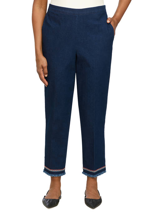 Alfred Dunner Womens Denim Ankle Pants