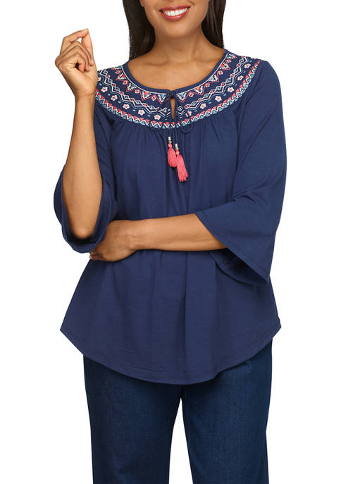 Alfred Dunner Womens Embroidered Yoke Bell Sleeve Top