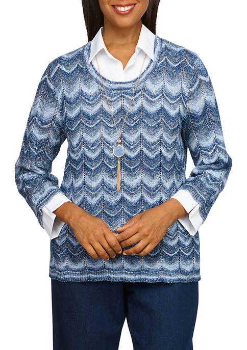 Alfred Dunner Womens Ombré Zigzag Sweater