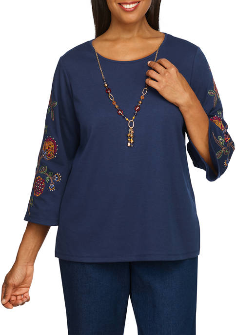 Alfred Dunner Petite Embroidered Sleeve Solid Top