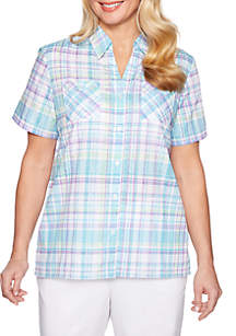 Alfred Dunner Catalina Burnout Plaid Short Sleeve Top