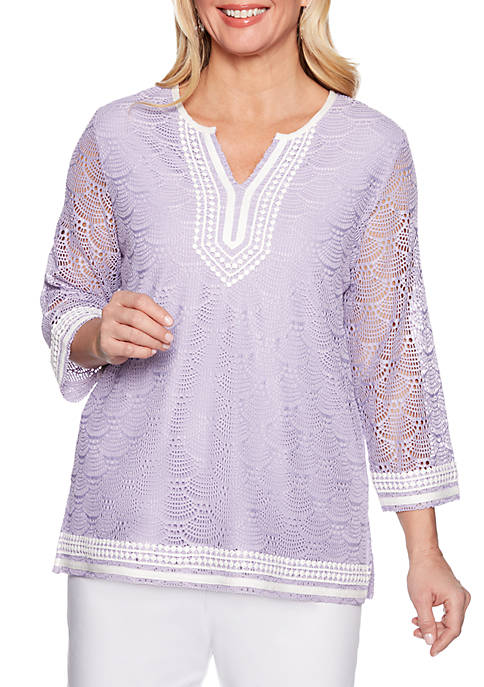 Alfred Dunner Catalina Island Pointelle Lace Tunic