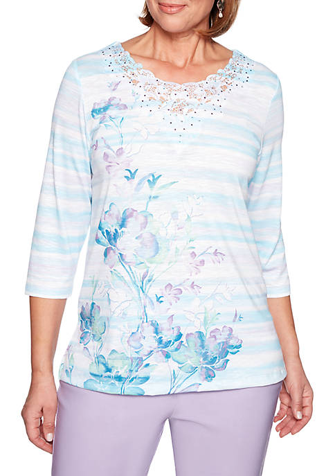 Alfred Dunner Catalina Island Watercolor Floral Stripe Top