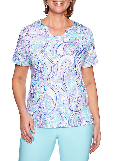 Alfred Dunner Catalina Island Abstract Scroll Knit Top