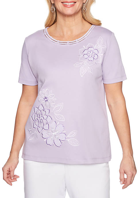 Alfred Dunner Catalina Island Floral Knit Top