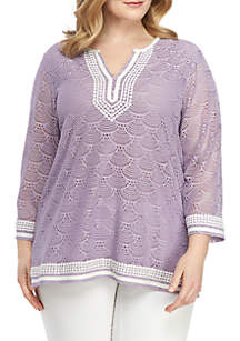 Alfred Dunner Plus Size Catalina Island Pointelle Lace Knit Top