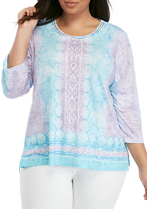 Alfred Dunner Plus Size Catalina Island Seashells Knit