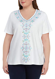 Alfred Dunner Plus Size Catalina Island Center Embroidered Knit Top