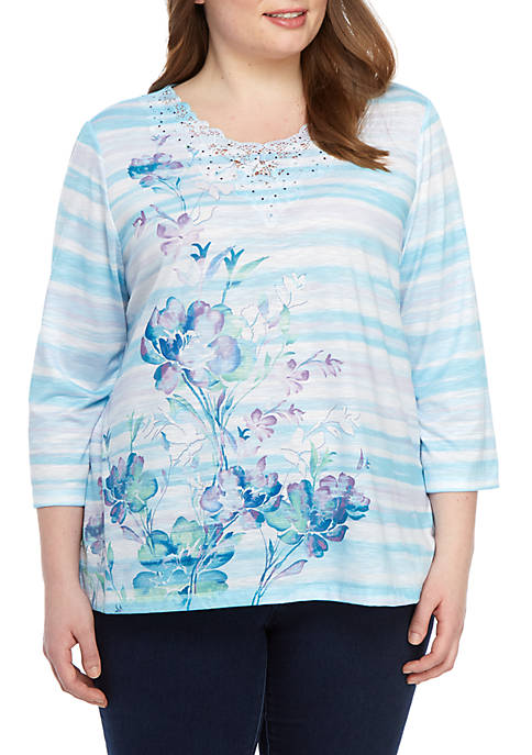 Alfred Dunner Plus Size Catalina Island Watercolor Floral