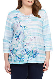 Alfred Dunner Plus Size Catalina Island Watercolor Floral Stripe Top