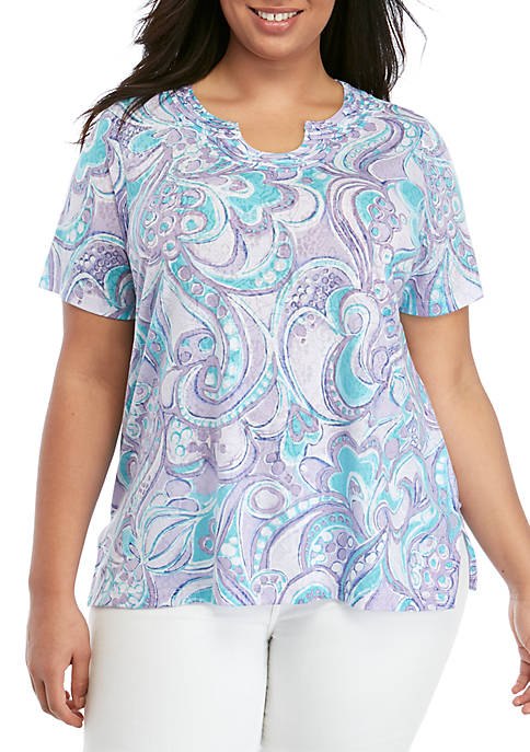 Plus Size Catalina Island Abstract Scroll Knit Top