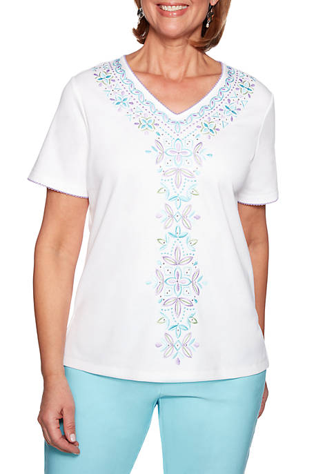 Alfred Dunner Petite Catalina Island Center Embroidery Top