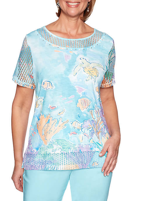 Alfred Dunner Petite Catalina Island Underwater Scenic Top