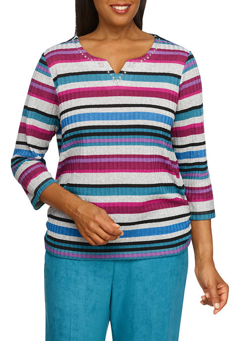 Alfred Dunner Womens Alexander Valley Knit Stripe Sweater