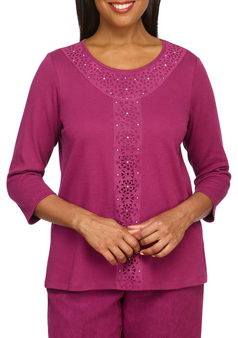 Alfred Dunner Womens Suede Appliqué Knit Top