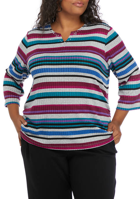 Alfred Dunner Plus Size Alexander Valley Ribbed Knit
