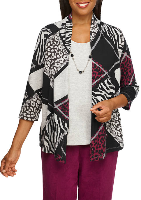 Alfred Dunner Petite Animal Patchwork 2Fer Top