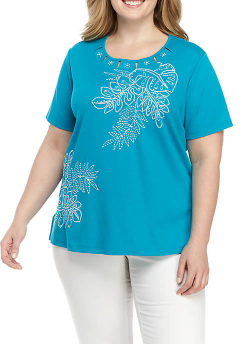 Alfred Dunner Plus Size Palm Leaf Embroidered Top