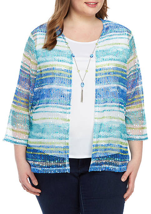 Alfred Dunner Plus Size Wakiki Mesh 2Fer Top