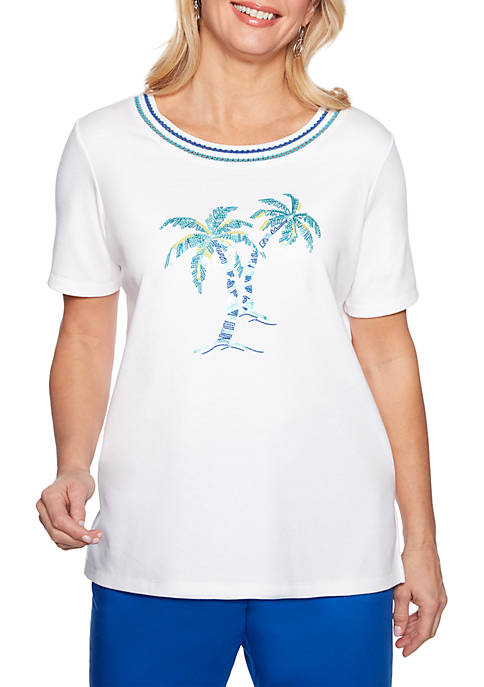 Alfred Dunner Petite Waikiki Beaded Palm Tree Top