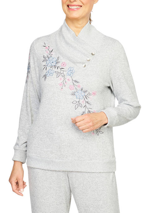 Alfred Dunner Womens Button Cowl Neck Embroidered Pullover
