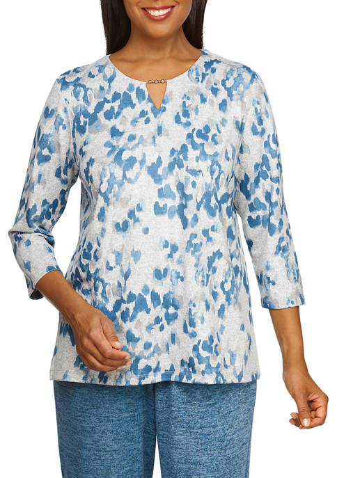 Alfred Dunner Womens Knit Animal Print Top