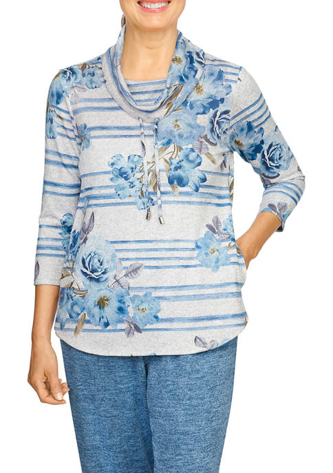 Alfred Dunner Petite Stripe Floral Cowl Neck Pullover