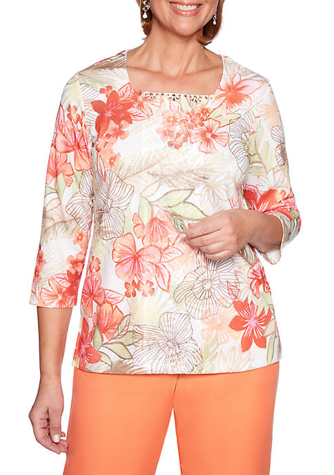 Alfred Dunner Petite Martinique Etched Tropical Knit Top