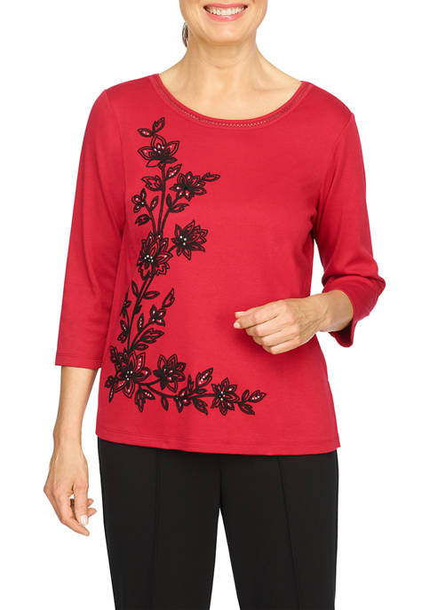 Alfred Dunner Womens Red Knit Top