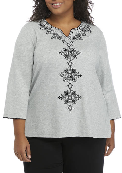 Alfred Dunner Plus Size 3/4 Sleeve Scroll Embroidered