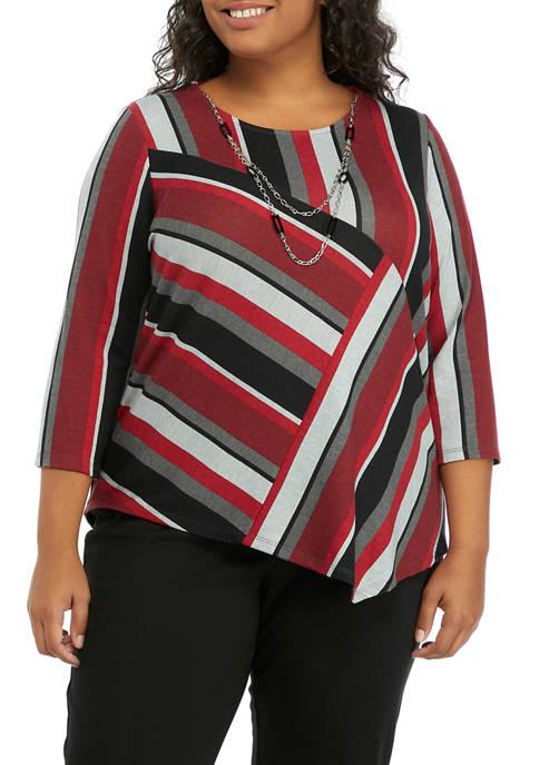 Alfred Dunner Plus Size 3/4 Sleeve Asymmetrical Stripe
