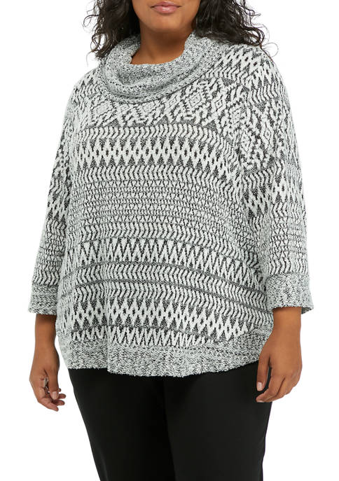 Alfred Dunner Plus Size 3/4 Sleeve Zigzag Print