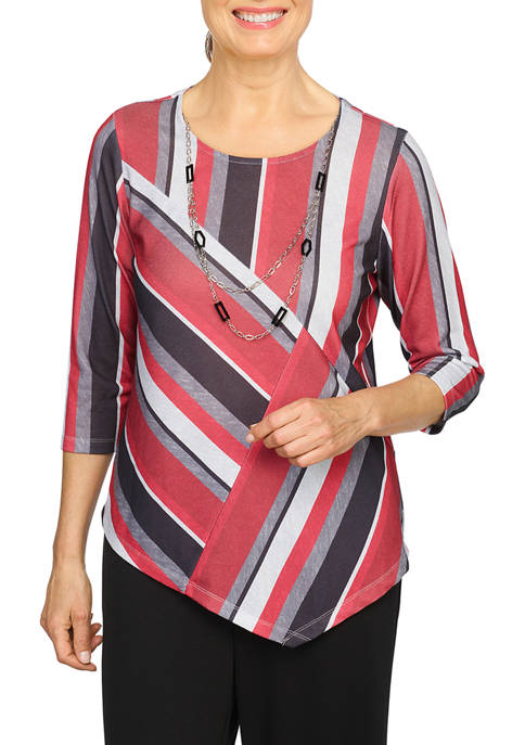 Alfred Dunner Petite Asymmetrical Hem Printed Top with