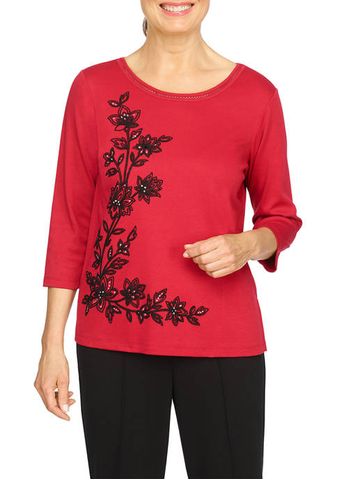 Alfred Dunner Petite Red Knit Top