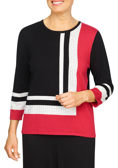 Alfred Dunner Petite Color Block Sweater