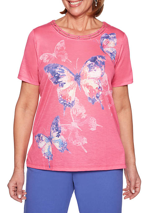 Alfred Dunner St. Kitts Abstract Butterfly Top