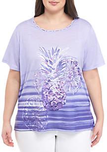Alfred Dunner Plus Size St. Kitts Short Sleeve Pineapple T Shirt