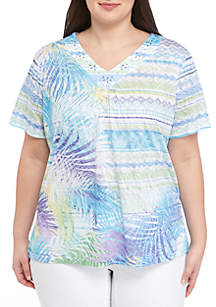 5cead8886b Alfred Dunner Plus Size Versailles Lace Floral Overlay Top · Alfred Dunner  Plus Size St. Kitts Fern Leaf Top
