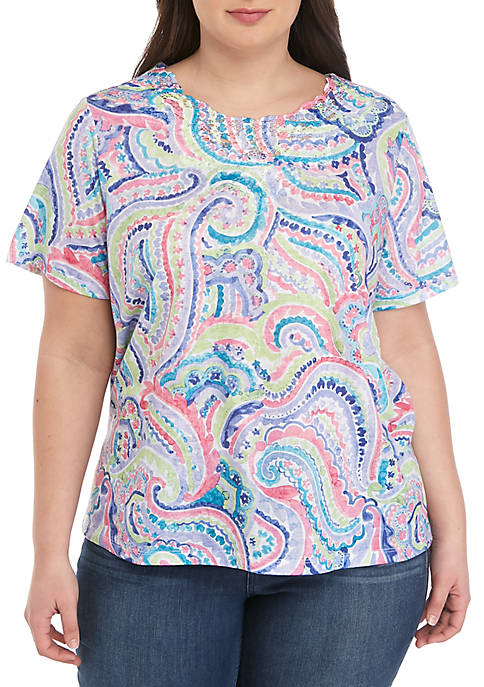 St. Kitts Plus Size Paisley Scroll Print Top