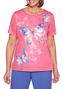 Alfred Dunner Petite St. Kitts Abstract Butterfly Top