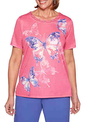 0dd0af4346d38 Alfred Dunner Petite St. Kitts Abstract Butterfly Top ...