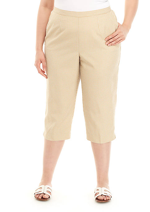 Alfred Dunner Plus Size Check Please Printed Capris