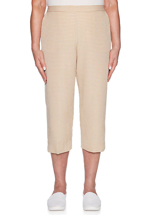 Alfred Dunner Petite Check Please Check Print Capris
