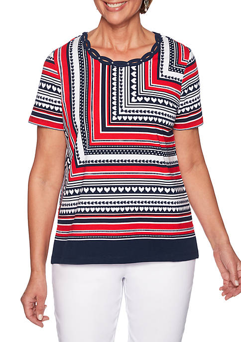 Alfred Dunner In the Navy Mitered Stripe Knit