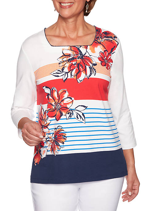 Alfred Dunner In The Navy Stripe Flower Knit